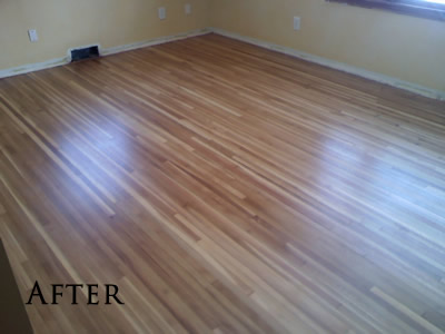 Refinished rift and quartered white oak hardwood floor in Iowa City