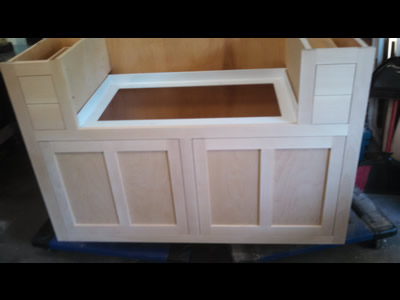 Custom cabinet for apron sink