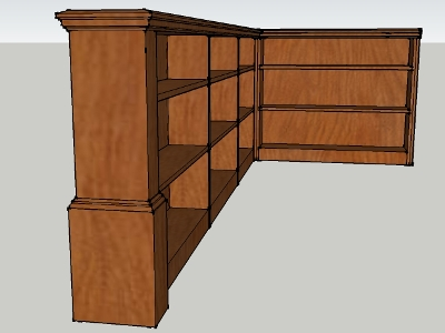 Sketchup model of stairwell bookcase
