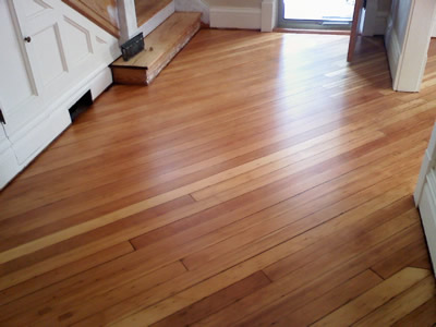 Refinished Southern Yellow pine floor in Iowa City