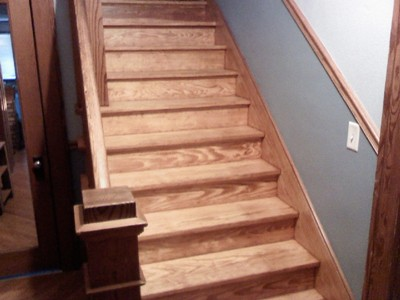 Refinished douglas fir staircase
