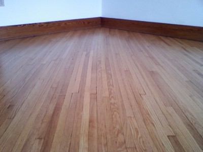 Refinished red oak in farmhouse