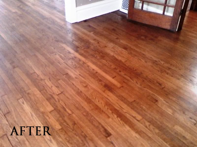 Refinished red oak floor stained English Chestnut