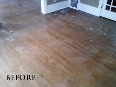 Brown stained red oak floor