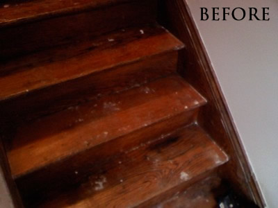 Stained red oak staircase