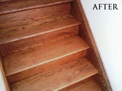 Refinished stained red oak staircase