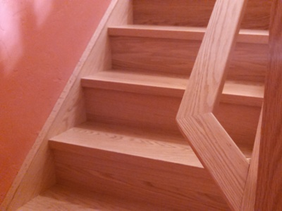 New housed stringer red oak staircase