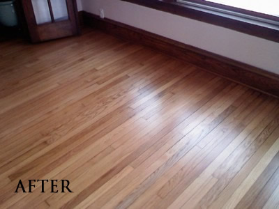 Refinished select red oak floor in historic 4-square