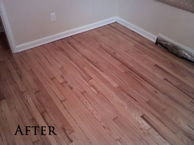 Removed carpet and refinished this original red oak hardwood floor in Iowa City