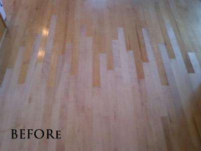 Laced-in new maple floor to match existing floor