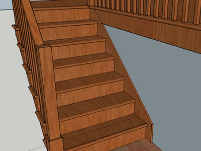 Quartersawn White Oak staircase in Sketchup