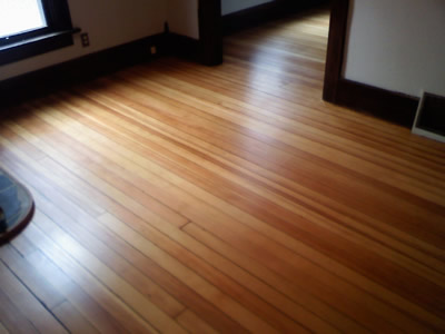 A beautifully refinished douglas fir floor in Iowa City