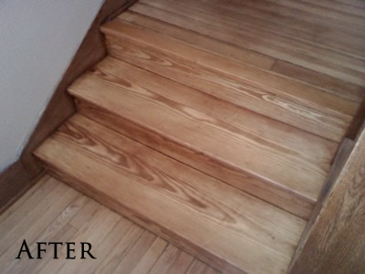 Refinished Southern Yellow pine staircase