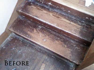 Abused Southern Yellow pine staircase