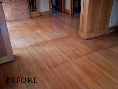 Refinished select red oak hardwood floor in Iowa City Craftsman