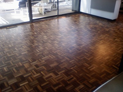 Refinished walnut parquet floor in Iowa City