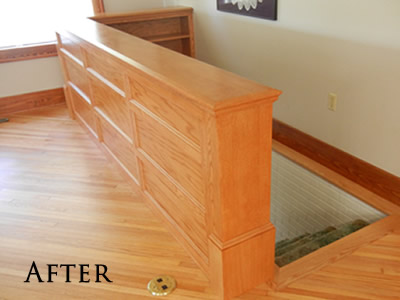Red oak banister bookcase built-in