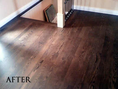 "Removed tile, installed new 3"" red oak, stained Jacobean"