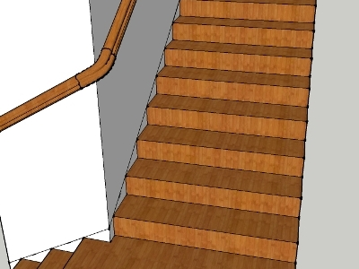 Sketchup model of wreath, handrail, and stairs