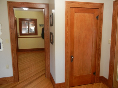 Historical reproduction yellow pine base, casing, and door